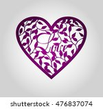 laser cut heart label. die cut... | Shutterstock .eps vector #476837074