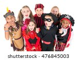 group of kids in halloween... | Shutterstock . vector #476845003
