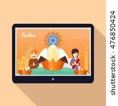 india flat vector concept.... | Shutterstock .eps vector #476850424