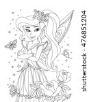 outlined beautiful fairy with...   Shutterstock .eps vector #476851204