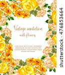 invitation with floral... | Shutterstock . vector #476853664
