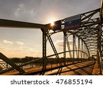 Small photo of The Maria Valeria bridge at the slovakian and hungarian border at sunset