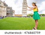 young female traveler having... | Shutterstock . vector #476860759