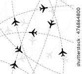 black airplane silhouettes with ... | Shutterstock .eps vector #476864800