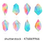 set of colored crystals in... | Shutterstock .eps vector #476869966