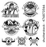 set of woodworkers  lumberjack  ...   Shutterstock .eps vector #476873566
