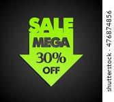 mega sale 30  off arrow banner... | Shutterstock .eps vector #476874856