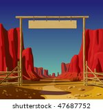 Vector illustration of a farm gate in the Wild West - stock vector
