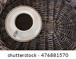 cup of hot coffee on wicker... | Shutterstock . vector #476881570