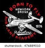 vintage airplanes typography ... | Shutterstock . vector #476889010