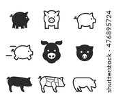 pig vector icons. simple...
