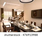 luxury studio with dining table ... | Shutterstock . vector #476913988