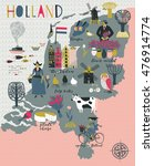 Cartoon Map Of Holland With...