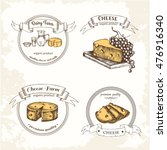logos with cheese and dairy... | Shutterstock .eps vector #476916340