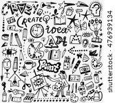 art tools doodles set