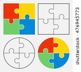 colorful jigsaw puzzle vector ... | Shutterstock .eps vector #476945773