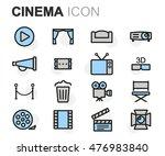 vector flat line cinema icons... | Shutterstock .eps vector #476983840