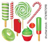 set of christmas sweets and... | Shutterstock .eps vector #476987098