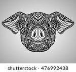 pig zodiac artistic ornament... | Shutterstock .eps vector #476992438
