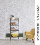 modern brick wall desk interior | Shutterstock . vector #476995234