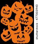 happy halloween card design.... | Shutterstock .eps vector #477003940