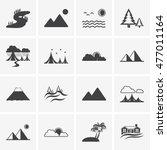landscape icons  mono vector... | Shutterstock .eps vector #477011164