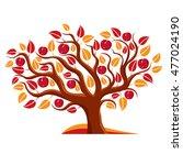 tree with ripe apples  harvest... | Shutterstock .eps vector #477024190