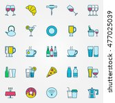 colorful bar and cafe icons.... | Shutterstock .eps vector #477025039
