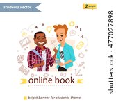 smiling girl and boy with book... | Shutterstock .eps vector #477027898