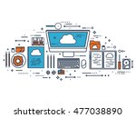 workplace  table with... | Shutterstock . vector #477038890