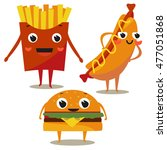 set of flat icons fast food.... | Shutterstock .eps vector #477051868