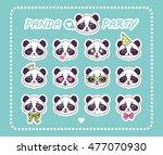 set stickers little panda bear... | Shutterstock .eps vector #477070930