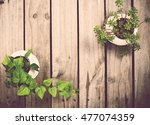 natural green plants on an old... | Shutterstock . vector #477074359