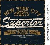 new york sport wear typography... | Shutterstock . vector #477074914