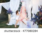 cute bride with wedding decor... | Shutterstock . vector #477080284