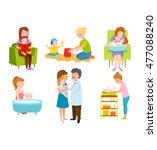 young mother vector characters... | Shutterstock .eps vector #477088240