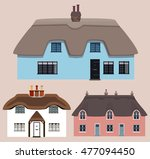 Three Colorful Thatched Old...