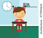 schoolgirl sitting at a desk in ... | Shutterstock .eps vector #477094624