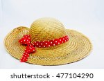 Summer Straw Hat With Red Hat...