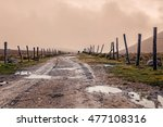 Muddy Wet Countryside Road In National Park Llanganate, Ecuador, South America