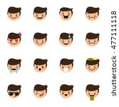 vector boy emoticons collection.... | Shutterstock .eps vector #477111118