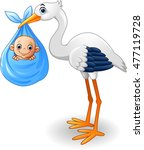 cartoon stork carrying baby | Shutterstock .eps vector #477119728