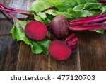 fresh beetroots with leaves on ... | Shutterstock . vector #477120703
