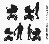 silhouette of people with prams   Shutterstock .eps vector #477121504