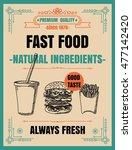 vintage poster.fast foodmenu.... | Shutterstock .eps vector #477142420
