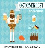 oktoberfest man character. flat ... | Shutterstock .eps vector #477158140