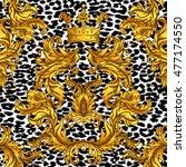 Baroque Golden Seamless Pattern ...