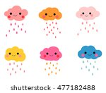 colorful smiling clouds with... | Shutterstock .eps vector #477182488