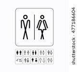 wc icons set. toilet door wall... | Shutterstock . vector #477186604