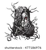 serious shaman woman with red... | Shutterstock . vector #477186976